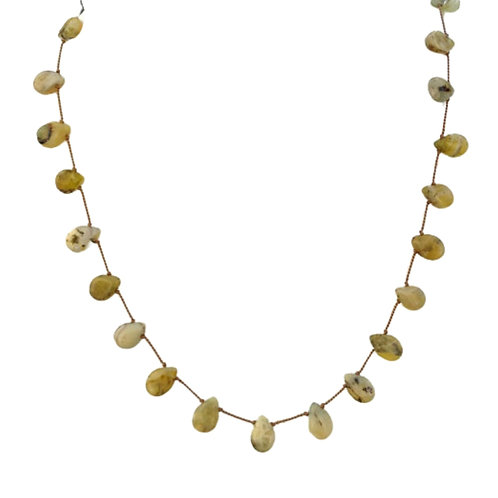 Green Prehnite Gemstones Tin Cup Necklace Hand-Knotted on Beige Silk