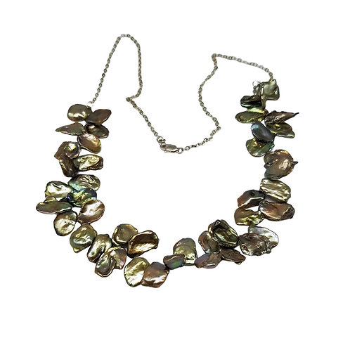 Golden Brown Keshi Pearl Necklace with Green and Bronze Overtones