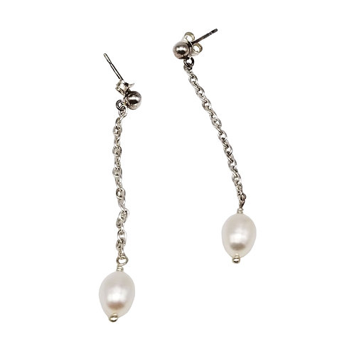 Long Pearl and Silver Chain Earrings