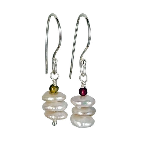 White Coin Pearls with Red and Green Garnet Earrings, June/January Birthstones