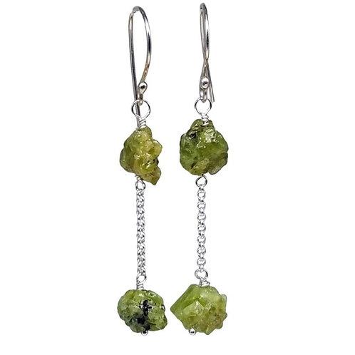 Long Raw Green Garnet Nugget Gemstone Earrings