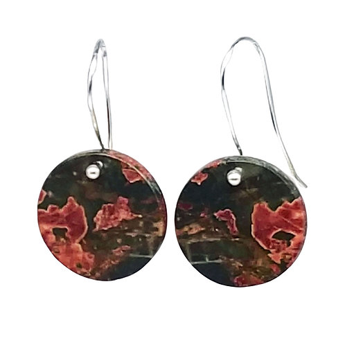 Natural Red Creek Jasper Flat Coin Earrings, Red and Brown Picasso Jasper
