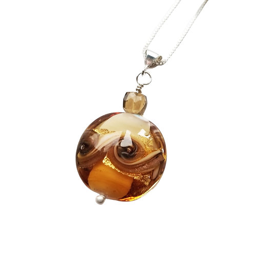 Topaz-Colored Murano Glass and Whisky Quartz Pendant on a Sterling Silver Chain