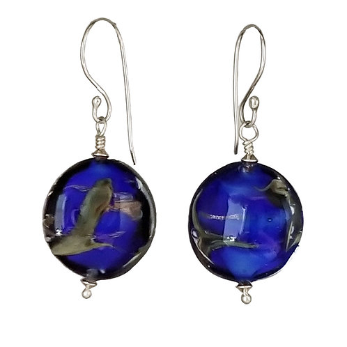 Cobalt Blue and Copper Murano Glass Earrings