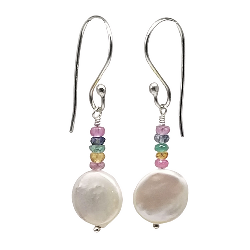 White Coin Pearl and Multi Sapphire Earrings