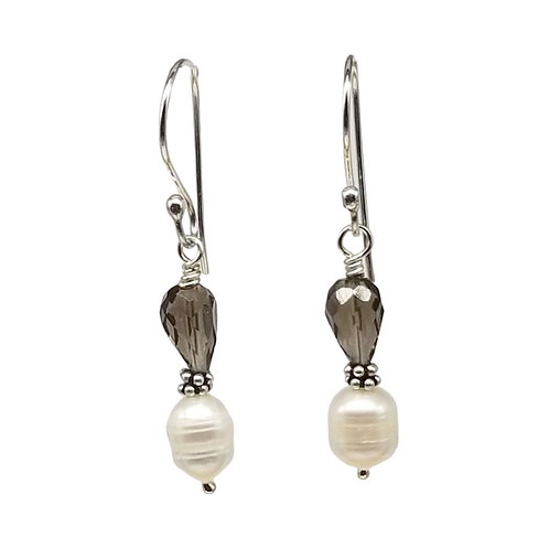 Pearl and Smoky Quartz Earrings