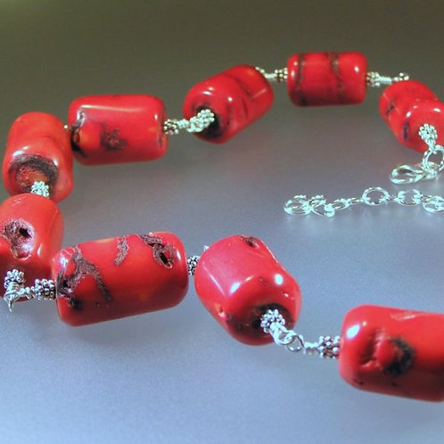 Chunky Red Coral and Sterling Silver Statement Necklace