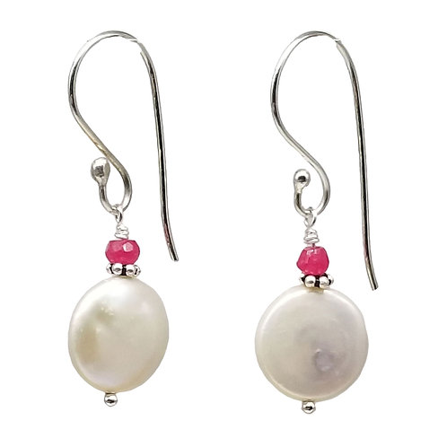 White Coin Pearl with Ruby Cap Earrings
