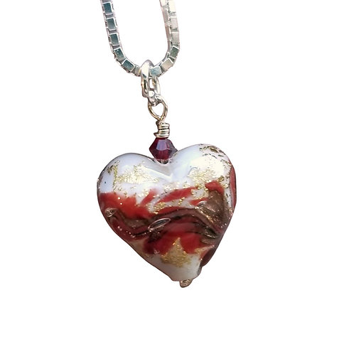 Red, Gold, and White Marbled Murano Glass Heart Pendant on Sterling Silver Chain