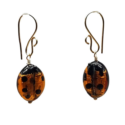 Murano glass ladybug earrings on gold fill ear wires