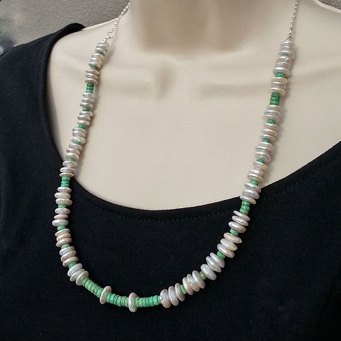 Pearl and Green Turquoise Necklace Around Neck
