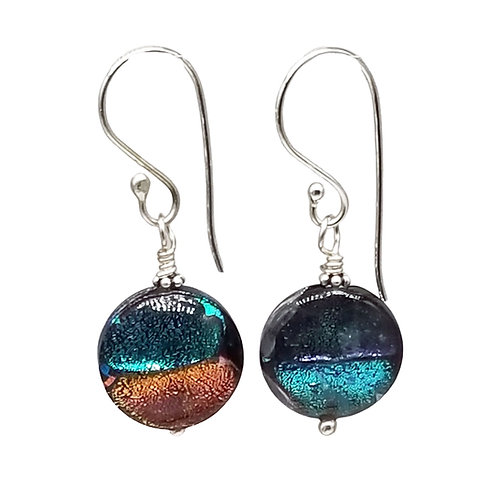 Murano Glass Earrings in Bold Dichroic Color Blocks