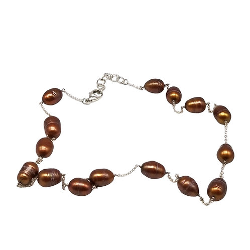 Golden Brown Baroque Pearl Tin Cup Necklace on Sterling Silver Chain