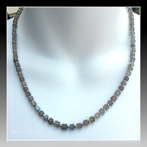 Labradorite heishi and sterling silver necklace on model