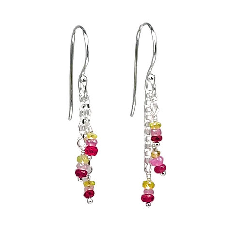 Red, Pink, and Yellow Sapphire and Sterling Silver Dangle Earrings