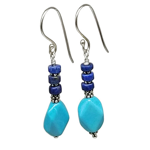 Sleeping Beauty Turquoise, Lapis Lazuli, and Sterling Silver Dangle Earrings