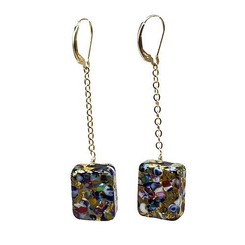 Art Nouveau Style Murano Glass Dangle Earrings in Bright Multi Colors