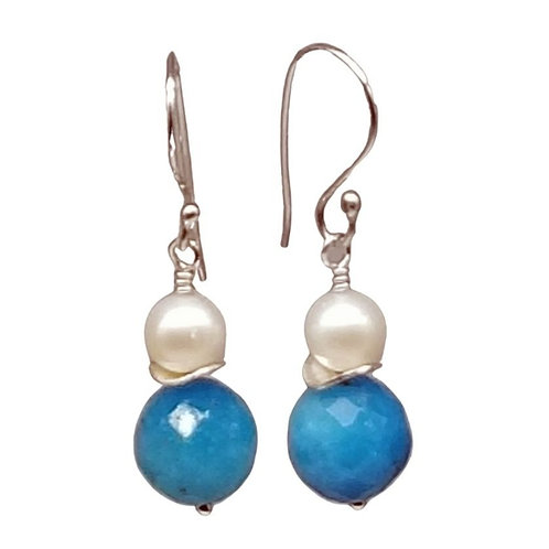 Blue Topaz and White Pearl Earrings