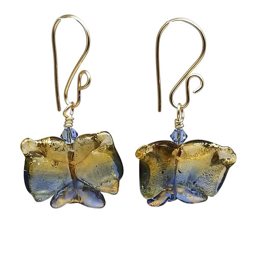 Blue and Gold Murano Glass Butterfly Earrings