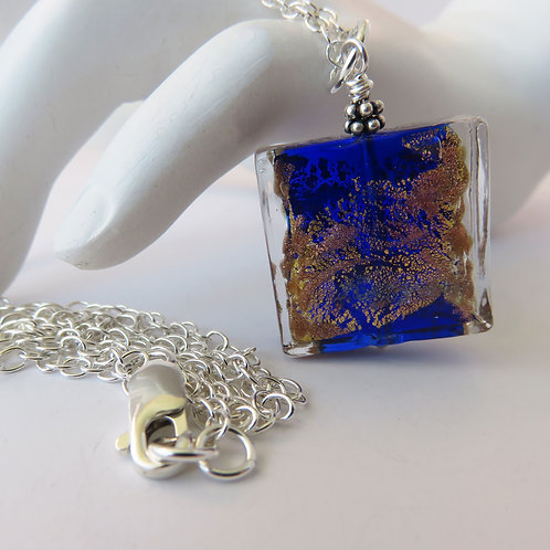 Cobalt Blue and Gold and Silver Murano Glass Necklace Gold Side