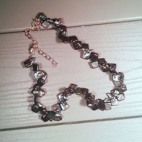 Baroque Pearl Necklace in a Deep Purple/Aubergine Color