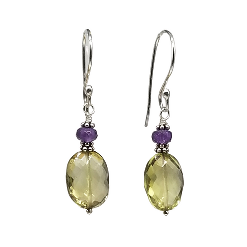 Lemon Quartz and Purple Amethyst Gemstone Earrings