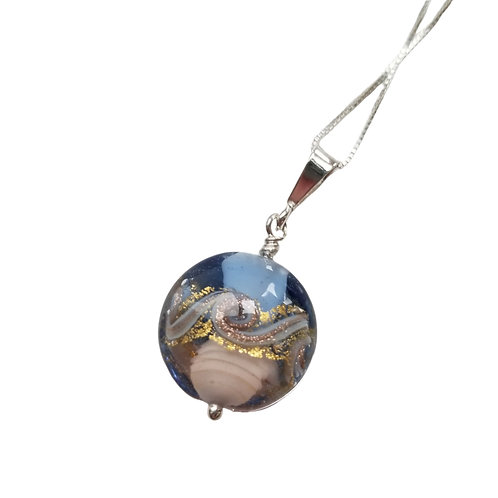 Blue and Gold Murano Glass Sea Design Pendant on a Sterling Silver Chain