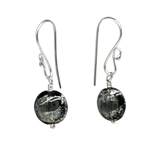 Murano Dichroic Silver and Black Sparkler Earrings