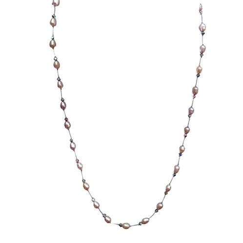 Delicate Pink Pearl and Gray Crystal Tin Cup / Floating Hand-Knotted Necklace