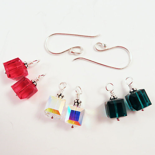 Interchangeable Crystal Cube Earring Set