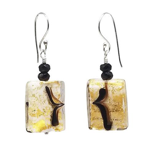 Elegant Murano Glass Rectangular Earrings in Gold, Black, and White
