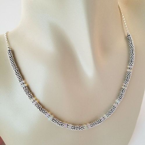 Opal and Sterling Silver Necklace Around Neck