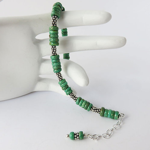 Green Turquoise and Sterling Silver Bracelet with Extension Chain