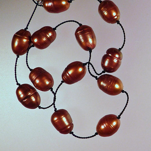 Brown Pearl Tin Cup Necklace on Black Silk