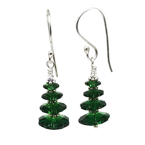 Moss Green Swarovski Crystal Miniature Christmas Tree Earrings