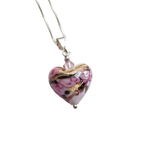 Murano Heart of Roses Pendant in Purple and Gold / Sterling Chain