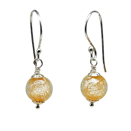 Sunny Golden-Pink and White Gold Murano Glass Earrings
