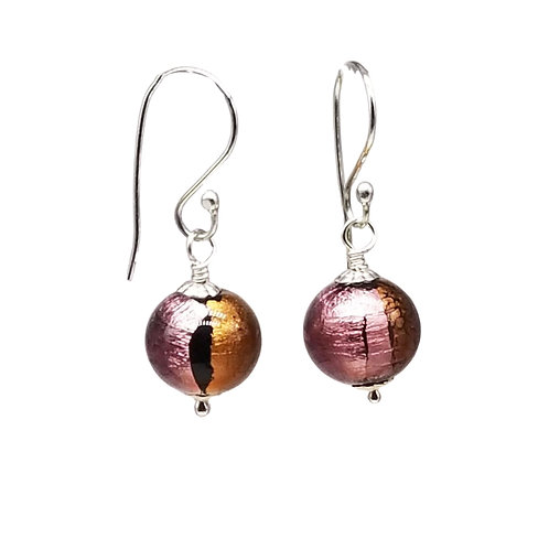 Striking Murano Glass Earrings in Purples, Oranges, and Black with Sterling