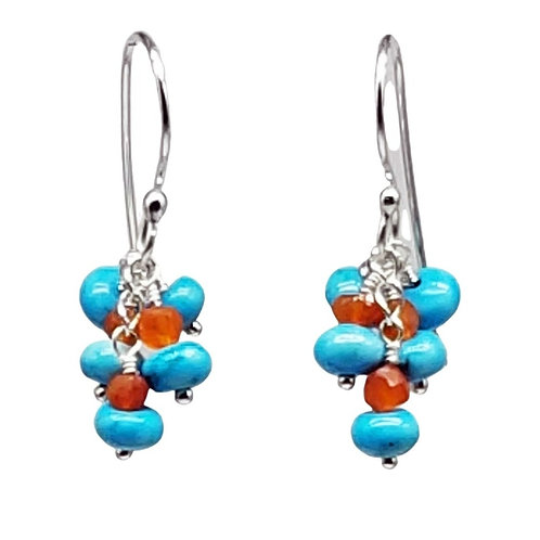 Blue Turquoise and Orange Carnelian Cluster Earrings