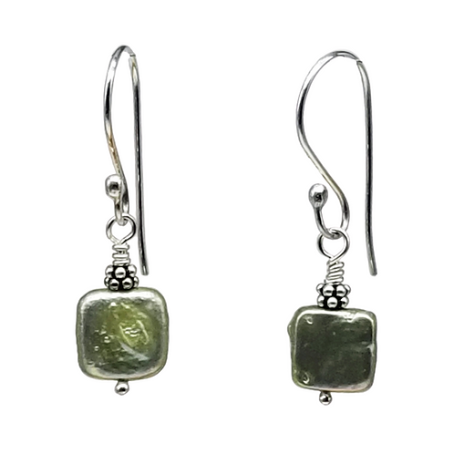 Moss Green Square Coin Pearl Earrings