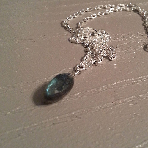 Labradorite Pendant on Sterling Silver Chain