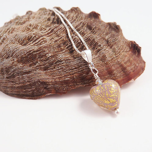 Small Gold And Mauve Murano Glass Heart Pendant on Sterling Silver Chain
