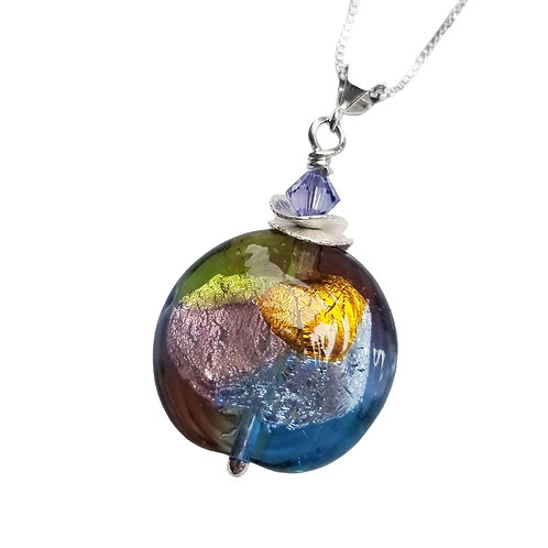 Colorful Murano Glass Pendant in a Venetian Patchwork Design