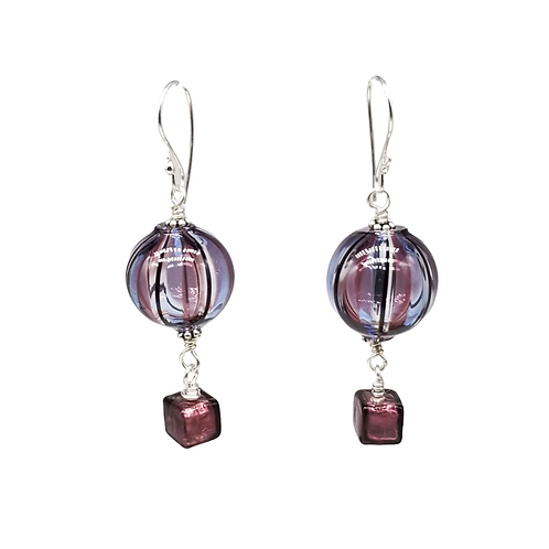 Unique Murano Glass Hot Air Balloon Earrings in Amethyst-Purple and Blue