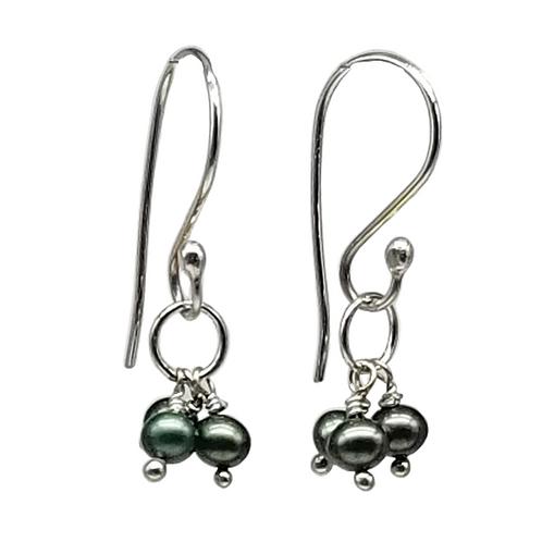 Green Triplet Pearl Cluster Earrings