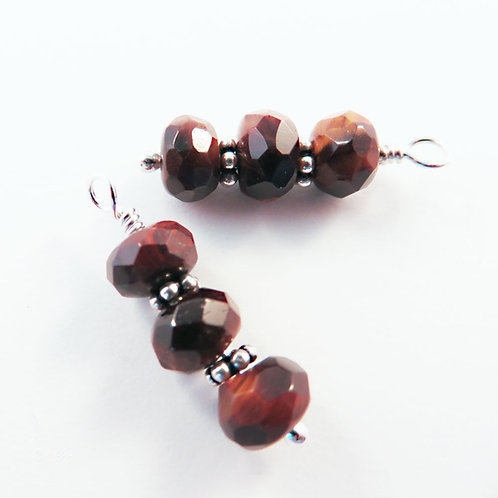Boho Tigers Eye and Sterling Silver Earrings