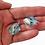 Aqua Dichroic Murano Glass Earrings in Hand 2