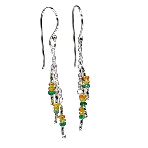 Yellow and Green Multi-colored Sapphire and Sterling Silver Dangle Earrings
