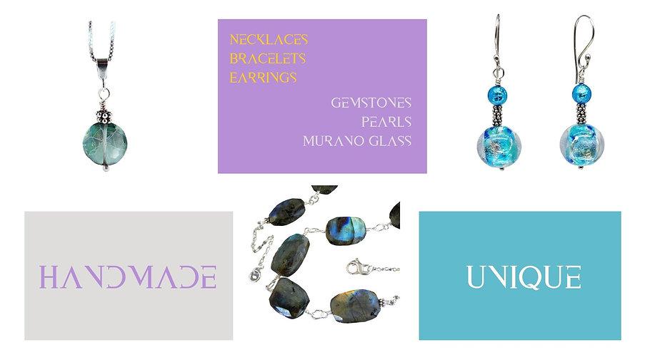 Earrings, Pendants, Bracelet, Handmade, Unique, Gemstones, Pearls, Murano Glass
