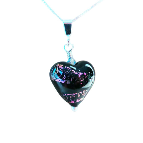 Black and Purple Dichroic Murano Glass Heart Pendant on Sterling Silver Chain